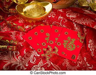 xi, chino, artículos, tradicional, fa, cai, gong, año, nuevo