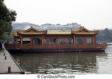 (xi, oeste, hangzhou, tradicional, lago, restaurante, lake...