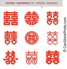 xi, shuang, cinese, happiness), simbolo, (double, vettore, set