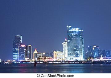 xiaman, centro distrito cidade, negócio, noturna
