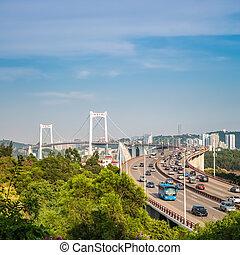 xiamen haicang bridge in daytime closeup