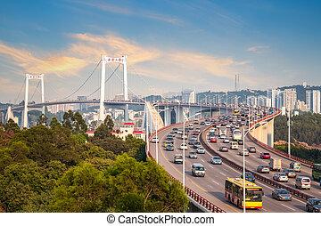 xiamen haicang bridge in sunset