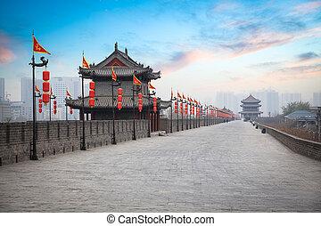 ancient tower at dusk in xian city wall ,China