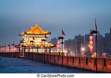 xian ancient tower in nightfall