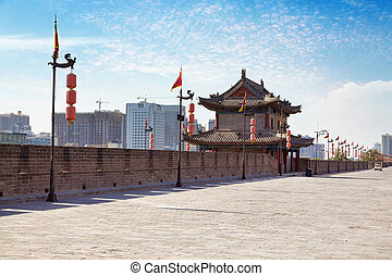 Xian, China - Beautiful view of ancient city wall of Xian,...