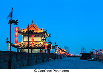 ancient tower on city wall in xian at night, China