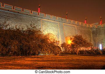 the xian city wall at night