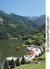 xi'an, lago china, montanha, cuihua