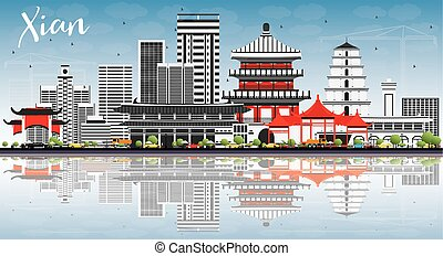 Xian Skyline with Gray Buildings, Blue Sky and Reflections.