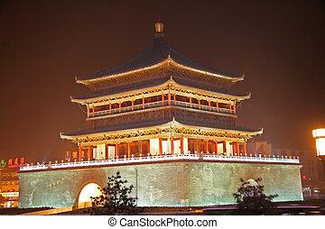 xian, torre, china, campana