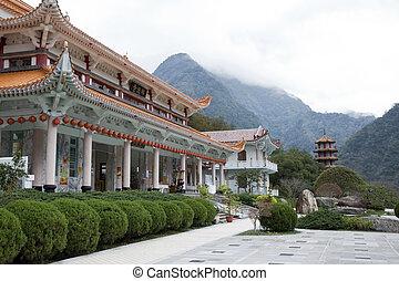 xiangde, chrám, jiuhuashan, taiwan, /