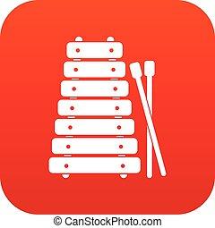 xilofone, e, varas, ícone, digital, vermelho