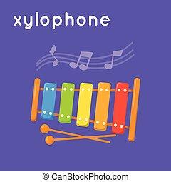 xilofone, notas., coloridos