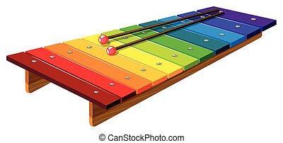 xilofone, varas, coloridos