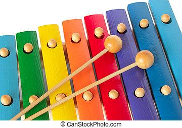xilofono, con, due, magli