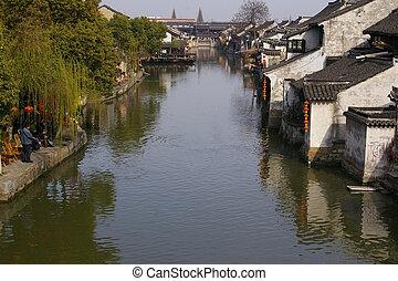xitang, viejo, agua, aldea, en, china