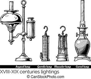 xix, xviii, -, centuries, éclairages