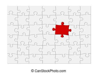 xl, quebra-cabeça, jigsaw, -, em branco, pedaço, vermelho