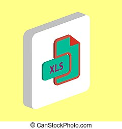 XLS document Simple vector icon. Illustration symbol design template for web mobile UI element. Perfect color isometric pictogram on 3d white square. DOC document icons for business project
