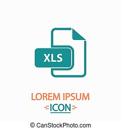 XLS Flat icon on white background. Simple vector illustration