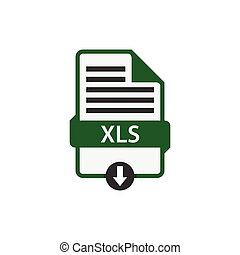 XLS document download file format vector image. XLS file icon flat design graphic vector