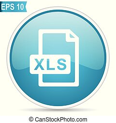 Xls file blue glossy round vector icon in eps 10. Editable modern design internet button on white background.