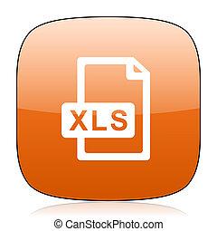 xls file orange square web design glossy icon