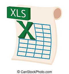 XLS icon in cartoon style on a white background