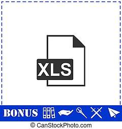 XLS icon flat. Simple vector symbol and bonus icon