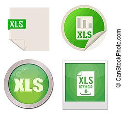 Xls icon set on white background, vector illustration