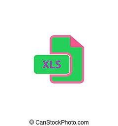XLS Icon Vector. Flat simple color pictogram
