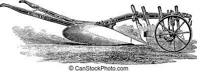 XLU plow, J Cooke for deep plowing in tough ground, vintage engraving.