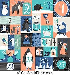 Xmas advent calendar. Christmas days calendar countdown with...