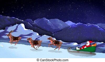 Xmas and New Year Funny 2d Cartoon Animation Santa Claus...