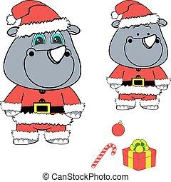 xmas baby rhino cartoon santa claus costume set