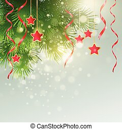 Xmas background with Christmas decoration. Vector illustration