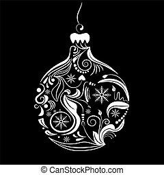 Xmas ball - Vector picrture of white silhouette of christmas...