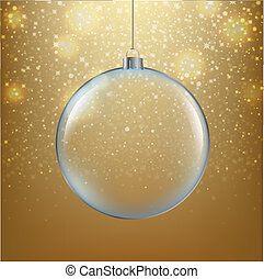 Xmas Ball With Golden Background