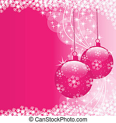 Xmas balls pink - Christmas scene with hanging ornamental...