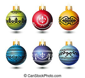 Xmas balls with ornaments
