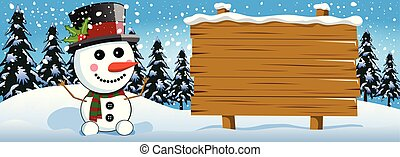 Xmas banner featuring snowman next to blank wooden sign in the snow