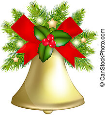 Xmas Bells, Isolated On White Background, Vector ...