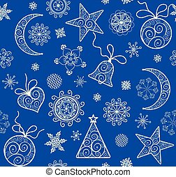 Xmas blue wallpaper with vintage golden pattern