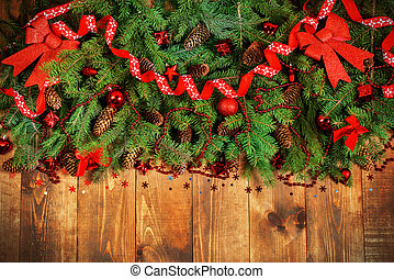 xmas border - Christmas Border - fir branches with red...