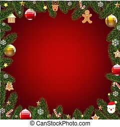 Xmas Border With Fur Tree With Gradient Mesh, Vector...
