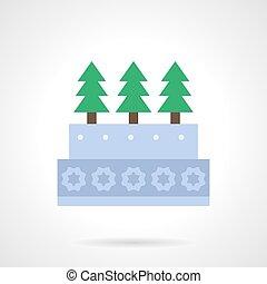 Xmas cake flat color vector icon