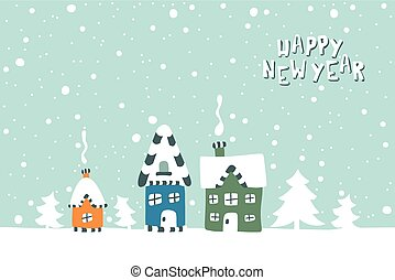 Xmas card. Illustration of three houses on a snowy background.