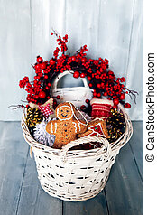 Xmas card - Photo of basket with christmas decorations