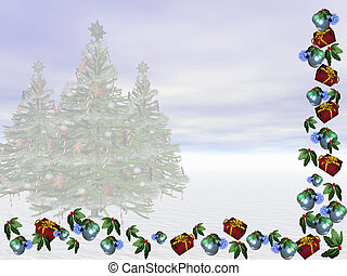 Xmas Card. - Winter landscape with copyspace for wishes.