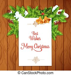 Xmas card with holly berry on wooden background